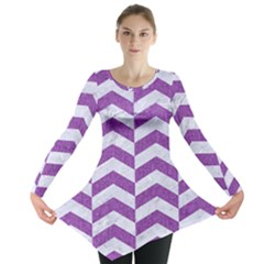 Chevron2 White Marble & Purple Denim Long Sleeve Tunic