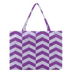 Chevron2 White Marble & Purple Denim Medium Tote Bag