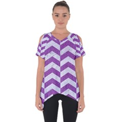 Chevron2 White Marble & Purple Denim Cut Out Side Drop Tee