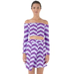 Chevron2 White Marble & Purple Denim Off Shoulder Top With Skirt Set