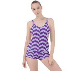 Chevron2 White Marble & Purple Denim Boyleg Tankini Set