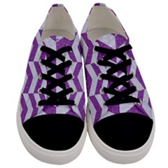 Chevron2 White Marble & Purple Denim Men s Low Top Canvas Sneakers