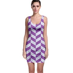 Chevron1 White Marble & Purple Denim Bodycon Dress