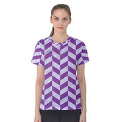 Chevron1 White Marble & Purple Denim Women s Cotton Tee