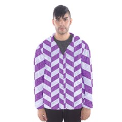 Chevron1 White Marble & Purple Denim Hooded Wind Breaker (men)