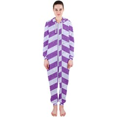 Chevron1 White Marble & Purple Denim Hooded Jumpsuit (ladies)