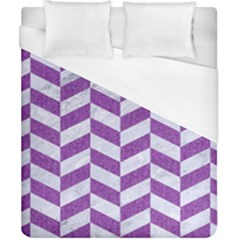 Chevron1 White Marble & Purple Denim Duvet Cover (california King Size)