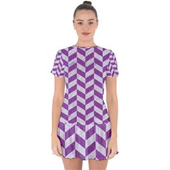 Chevron1 White Marble & Purple Denim Drop Hem Mini Chiffon Dress