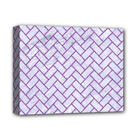 Brick2 White Marble & Purple Denim (r) Deluxe Canvas 14  X 11