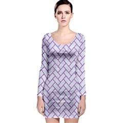 Brick2 White Marble & Purple Denim (r) Long Sleeve Bodycon Dress