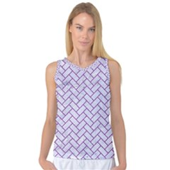 Brick2 White Marble & Purple Denim (r) Women s Basketball Tank Top