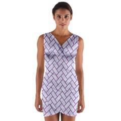 Brick2 White Marble & Purple Denim (r) Wrap Front Bodycon Dress