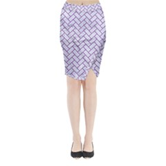 Brick2 White Marble & Purple Denim (r) Midi Wrap Pencil Skirt