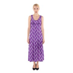 Brick2 White Marble & Purple Denim Sleeveless Maxi Dress