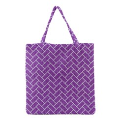 Brick2 White Marble & Purple Denim Grocery Tote Bag