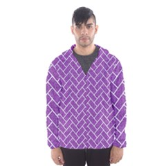 Brick2 White Marble & Purple Denim Hooded Wind Breaker (men)