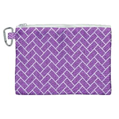 Brick2 White Marble & Purple Denim Canvas Cosmetic Bag (xl) by trendistuff