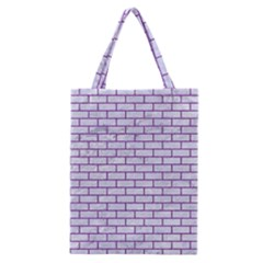 Brick1 White Marble & Purple Denim (r) Classic Tote Bag
