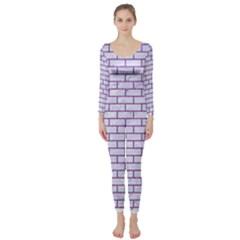 Brick1 White Marble & Purple Denim (r) Long Sleeve Catsuit