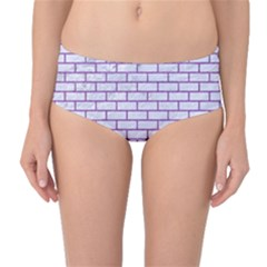 Brick1 White Marble & Purple Denim (r) Mid Waist Bikini Bottoms