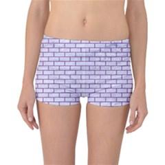 Brick1 White Marble & Purple Denim (r) Reversible Boyleg Bikini Bottoms