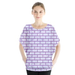 Brick1 White Marble & Purple Denim (r) Blouse