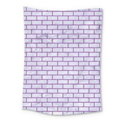 Brick1 White Marble & Purple Denim (r) Medium Tapestry