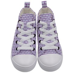Brick1 White Marble & Purple Denim (r) Kid s Mid Top Canvas Sneakers