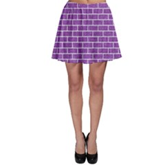 Brick1 White Marble & Purple Denim Skater Skirt