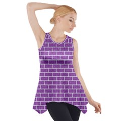 Brick1 White Marble & Purple Denim Side Drop Tank Tunic