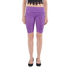 Brick1 White Marble & Purple Denim Yoga Cropped Leggings