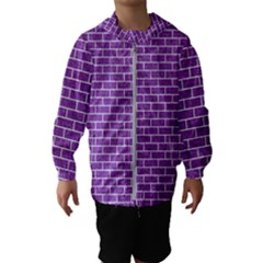 Brick1 White Marble & Purple Denim Hooded Wind Breaker (kids)