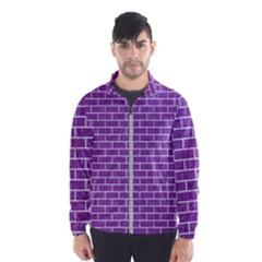 Brick1 White Marble & Purple Denim Wind Breaker (men)