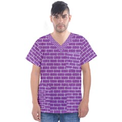 Brick1 White Marble & Purple Denim Men s V Neck Scrub Top