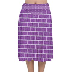Brick1 White Marble & Purple Denim Velvet Flared Midi Skirt