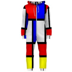 Piet Mondrian Mondriaan Style Hooded Jumpsuit (ladies)