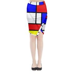 Piet Mondrian Mondriaan Style Midi Wrap Pencil Skirt