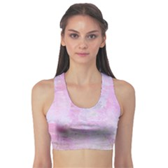 Soft Pink Watercolor Art Sports Bra