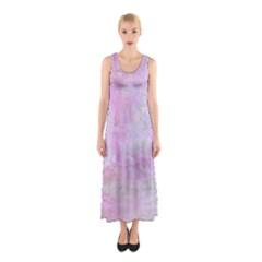 Soft Pink Watercolor Art Sleeveless Maxi Dress