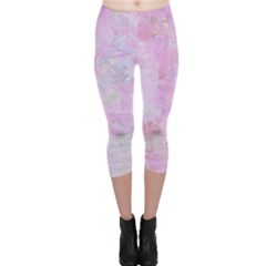Soft Pink Watercolor Art Capri Leggings