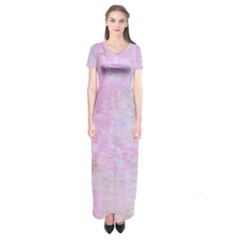 Soft Pink Watercolor Art Short Sleeve Maxi Dress