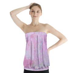 Soft Pink Watercolor Art Strapless Top