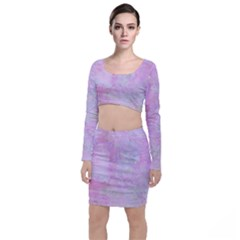 Soft Pink Watercolor Art Long Sleeve Crop Top & Bodycon Skirt Set