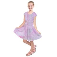 Soft Pink Watercolor Art Kids  Short Sleeve Dress