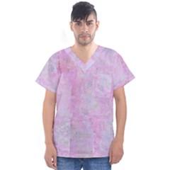 Soft Pink Watercolor Art Men s V Neck Scrub Top