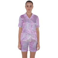 Soft Pink Watercolor Art Satin Short Sleeve Pyjamas Set