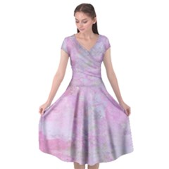 Soft Pink Watercolor Art Cap Sleeve Wrap Front Dress
