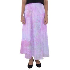 Soft Pink Watercolor Art Flared Maxi Skirt