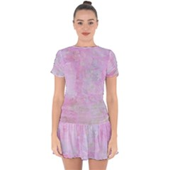 Soft Pink Watercolor Art Drop Hem Mini Chiffon Dress