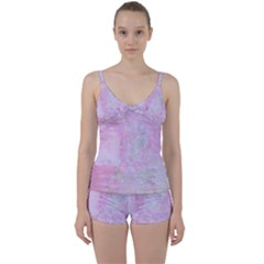 Soft Pink Watercolor Art Tie Front Two Piece Tankini